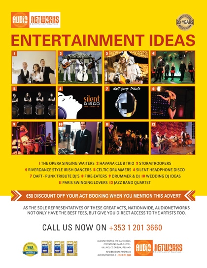 Unique Corporate & Wedding Acts with www.audionetworks.ie